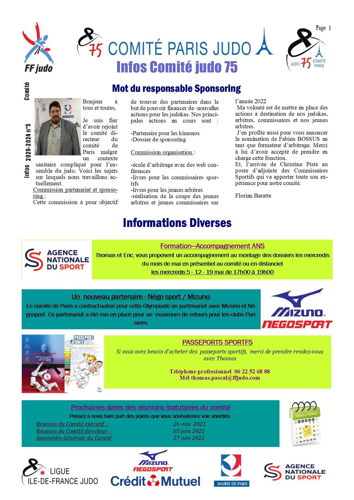 Image de la page 'Infos judo 75 - avril 2021- page 1'